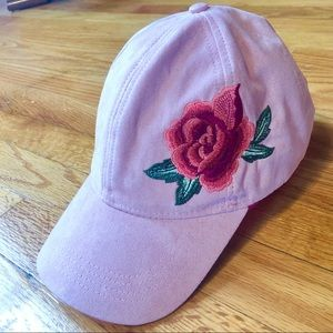 Pink Suede Ball Cap with Rose Embellishement